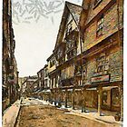 A digital painting of the Butter Walk, Dartmouth, England 19th century by Dennis Melling