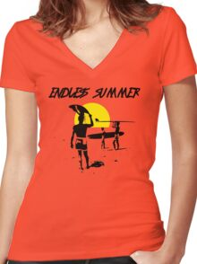 ENDLESS SUMMER SURF MOVIE Women's Fitted V-Neck T-Shirt