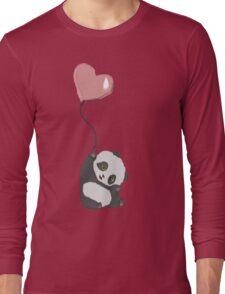 Panda And Balloon Long Sleeve T-Shirt