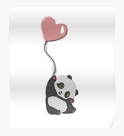 Panda And Balloon Poster