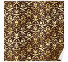 Damask Gold Glitter Dark Chestnut Brown Classic Elegant Poster