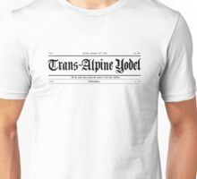 Trans Alpine Yodel Newspaper - Grand Budapest Hotel (black) Unisex T-Shirt