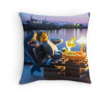Shark suit guy vacations  Throw Pillow