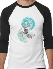 Paris Floral Love Birds Girl  Men's Baseball ¾ T-Shirt