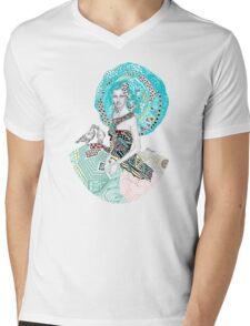 Paris Floral Love Birds Girl  Mens V-Neck T-Shirt