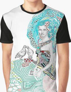 Paris Floral Love Birds Girl  Graphic T-Shirt