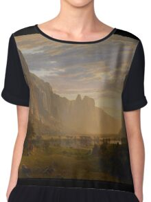 Albert Bierstadt - Looking Down Yosemite Valley, California American Landscape Chiffon Top
