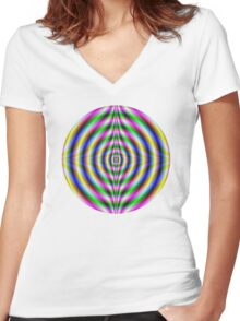 Psychedelic Neon Eye Women's Fitted V-Neck T-Shirt