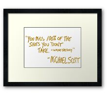 The Office Wayne Gretzky Quote Gold Framed Print