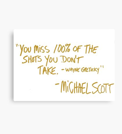 The Office Wayne Gretzky Quote Gold Canvas Print