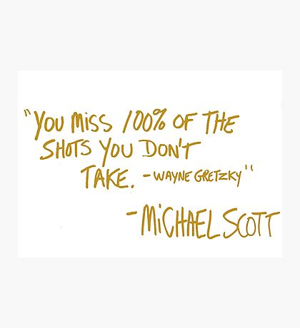 The Office Wayne Gretzky Quote Gold Photographic Print