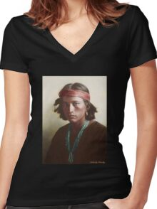Navajo Boy 1907 Women's Fitted V-Neck T-Shirt
