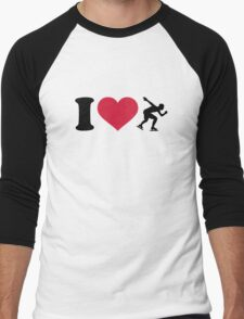I love Speed skating Men's Baseball ¾ T-Shirt