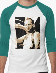 Bruce Willis Vector Illustration Men's Baseball ¾ T-Shirt