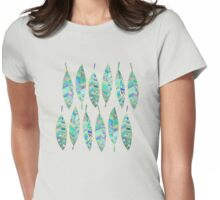 Jeweled Enamel Leaves on Tan Womens Fitted T-Shirt