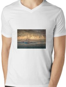 Returning to harbour with a good catch Mens V-Neck T-Shirt