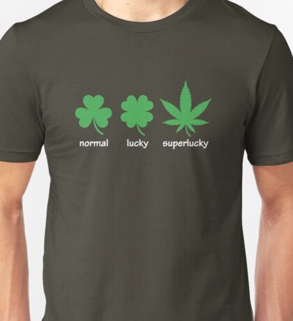 Superlucky Hemp Leaf (white  font) Unisex T-Shirt