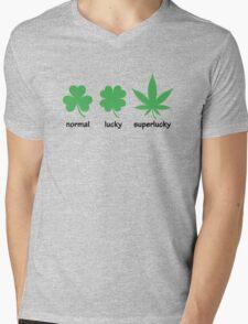 Superlucky Hemp Leaf (black font) Mens V-Neck T-Shirt