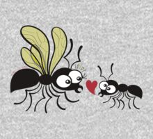 Shy worker ant declaring its love to the queen ant One Piece - Long Sleeve
