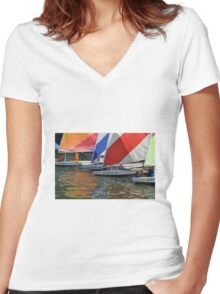 Sail Boats  Women's Fitted V-Neck T-Shirt