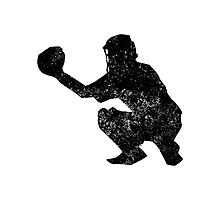 Distressed Baseball Catcher Silhouette Photographic Print