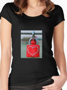 Pad lock Heart Women's Fitted Scoop T-Shirt