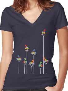 Colorful Tweet Birds On White Branches Women's Fitted V-Neck T-Shirt