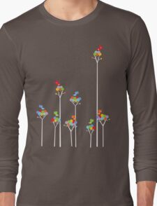 Colorful Tweet Birds On White Branches Long Sleeve T-Shirt