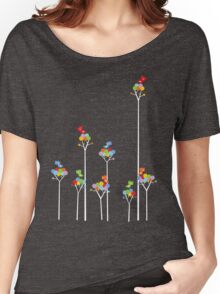 Colorful Tweet Birds On White Branches Women's Relaxed Fit T-Shirt