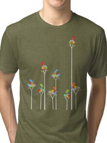 Colorful Tweet Birds On White Branches Tri-blend T-Shirt