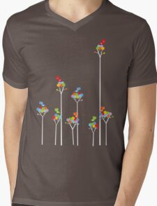 Colorful Tweet Birds On White Branches Mens V-Neck T-Shirt