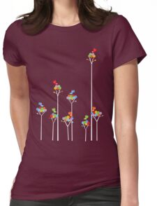 Colorful Tweet Birds On White Branches Womens Fitted T-Shirt