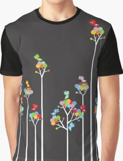 Colorful Tweet Birds On White Branches Graphic T-Shirt