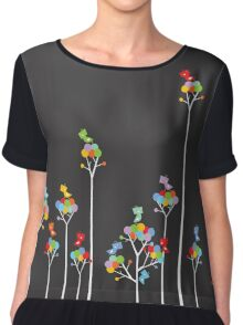 Colorful Tweet Birds On White Branches Chiffon Top