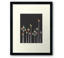 Colorful Tweet Birds On White Branches Framed Print