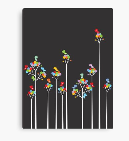Colorful Tweet Birds On White Branches Canvas Print