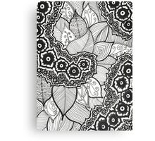Zentangle Flowers and Leaves Canvas Print