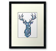 Watercolor Patterned Deer Design Framed Print