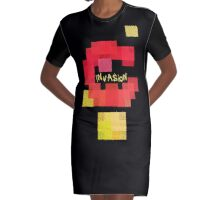 Space Invaders vs Tetris Graphic T-Shirt Dress