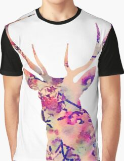 Pastel Patterned Deer Watercolor Design Graphic T-Shirt