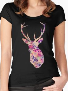 Pastel Patterned Deer Watercolor Design Women's Fitted Scoop T-Shirt