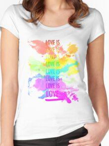 love is love rainbow splatter Women's Fitted Scoop T-Shirt