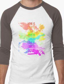 love is love rainbow splatter Men's Baseball ¾ T-Shirt