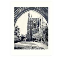 Through The Arch: Duke Chapel in Black and White Art Print
