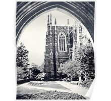 Through The Arch: Duke Chapel in Black and White Poster