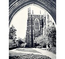 Through The Arch: Duke Chapel in Black and White Photographic Print