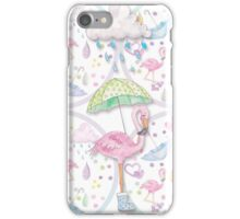 Rainy Flamingo iPhone Case/Skin