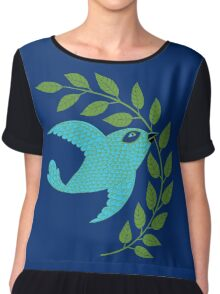 Bluebird with Green Garland  Women's Chiffon Top