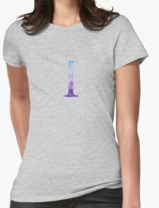 Blue Iota Watercolor Letter Womens Fitted T-Shirt