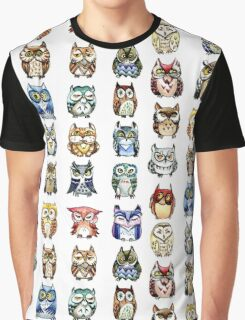 19 Owls and 1 Cat Graphic T-Shirt